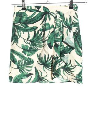 H&M Minirock grün-wollweiß Blumenmuster Stofflagen-Detail