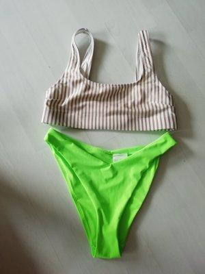 H&M Mix and Match Bikini 38 Streifen Neon