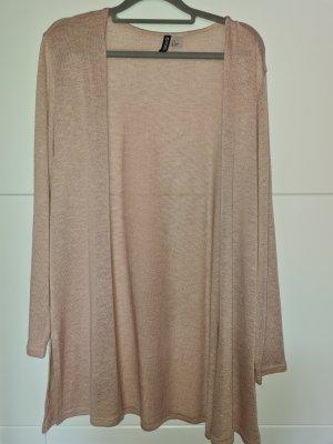 H&M Gilet long tricoté beige clair-rose chair tissu mixte