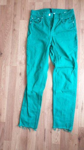 H&M Hoge taille jeans groen-grasgroen