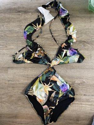 H&M Monokini Bikini Badeanzug Swimwear Bademode Gr. 36 Hawaiprint