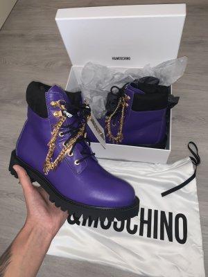 Moschino Bottes à lacets violet