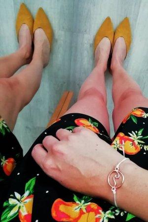 H&M Sandalias con tacón amarillo-ocre