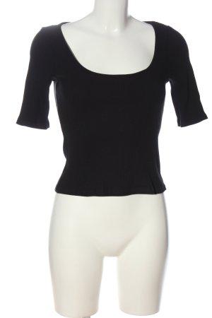 H&M Rippshirt schwarz Casual-Look