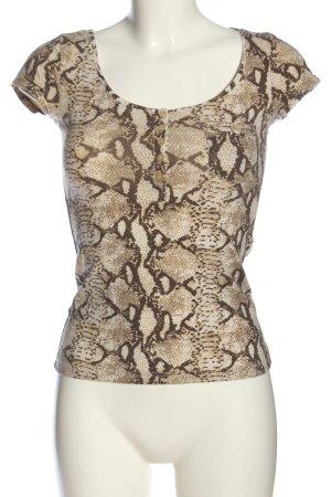 H&M T-Shirt creme-braun Animalmuster Casual-Look