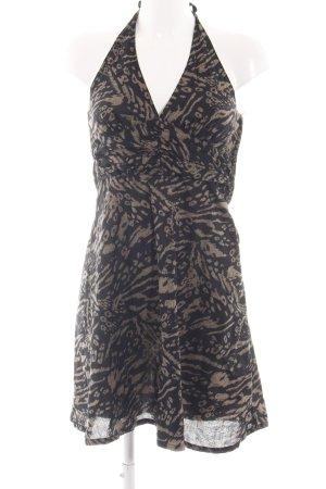 H&M Neckholderkleid schwarz-braun abstraktes Muster Casual-Look