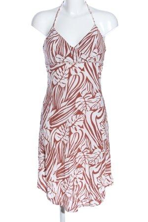 H&M Vestido de cuello Halter blanco-marrón look casual