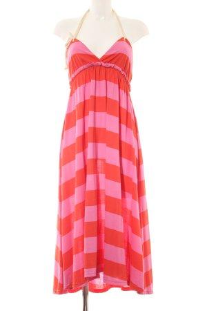 H&M Vestido de cuello Halter rojo-rosa estampado a rayas look casual