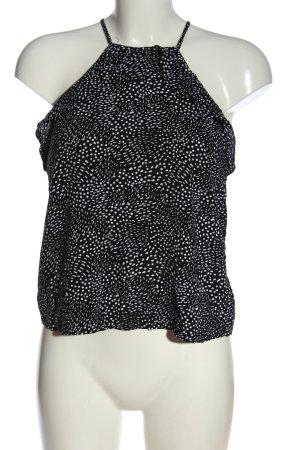 H&M Top z dekoltem typu halter czarny-biały Na całej powierzchni