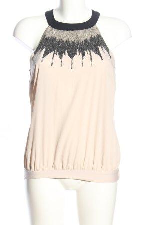 H&M Neckholdertop creme-schwarz Motivdruck Casual-Look