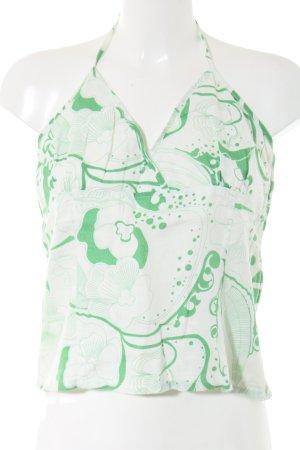H&M Neckholdertop weiß-grün abstraktes Muster Casual-Look