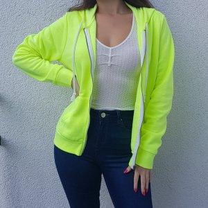 H&M Neon Gelb Hoodie Jacke Sweatjacke