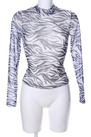 H&M Netzshirt weiß-schwarz Allover-Druck extravaganter Stil