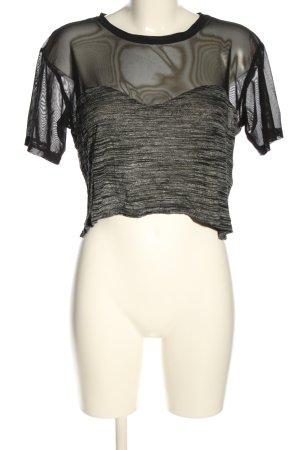 H&M Siateczkowa koszulka czarny-jasnoszary Melanżowy W stylu casual