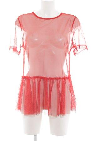 H&M Netzshirt rot extravaganter Stil