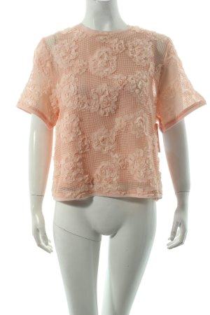 H&M Netzshirt apricot Blumenmuster Casual-Look