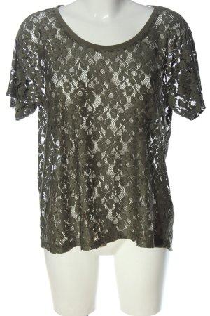 H&M Siateczkowa koszulka khaki Siateczkowy wzór W stylu casual