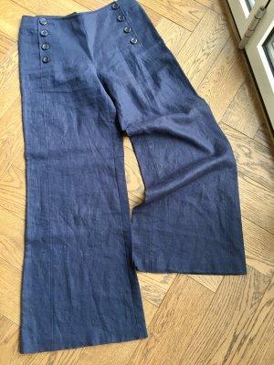 H&M Lniane spodnie ciemnoniebieski Len