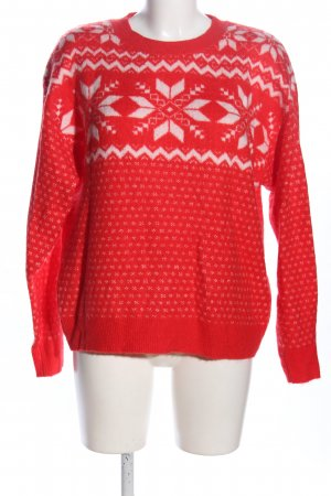 H&M Norwegerpullover rot-weiß Allover-Druck Casual-Look
