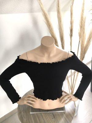 H&m off shoulder cropped Shirt schwarz gr M neu ohne Etikett