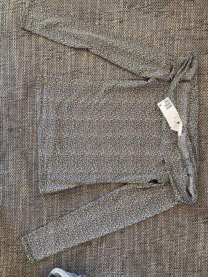 H&M Basic Koszulka z dekoltem woda jasnobrązowy-czarny Nylon