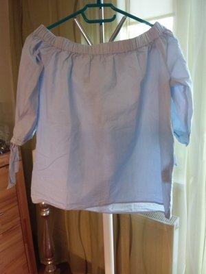 H&M Blusa alla Carmen azzurro Cotone
