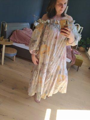 H&M Offshoulder Kleid geblümt Pastel Maxikleid schulterfrei
