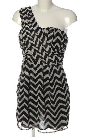 H&M One-Shoulder-Kleid schwarz-weiß Allover-Druck Elegant