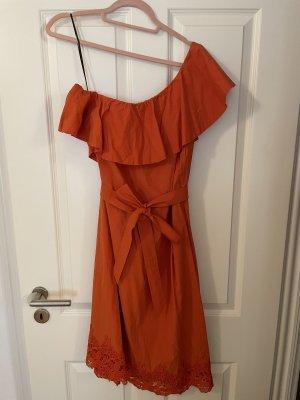 H&M One-Shoulder Kleid m. Spitzensaum in orange