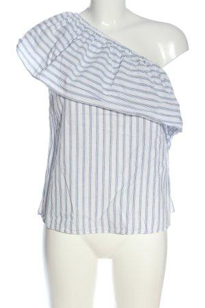H&M Eénschoudershirt wit-blauw casual uitstraling