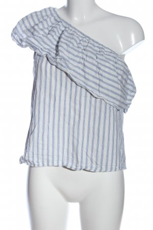 H&M One Shoulder Top white-blue striped pattern casual look