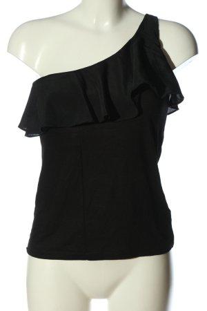 H&M One-Shoulder-Top schwarz Casual-Look