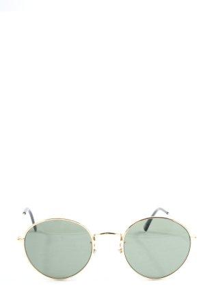 H&M ovale Sonnenbrille grün-goldfarben Casual-Look