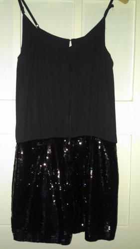 h&m overall jumpsuit pailletten schwarz glitzer neuwertig