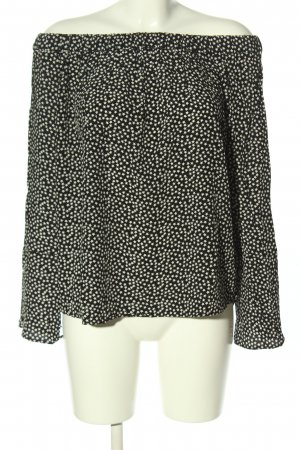 H&M Oversized Bluse schwarz-weiß abstraktes Muster Casual-Look