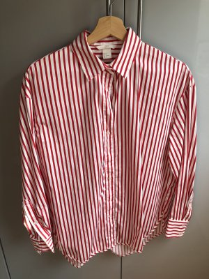 H&M Oversized Blouse red-white