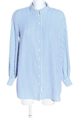 H&M Oversized Bluse blau-weiß Streifenmuster Casual-Look