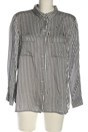 H&M Oversized Bluse schwarz-weiß Streifenmuster Casual-Look