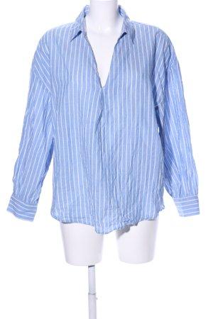 H&M Oversized Bluse blau-weiß Streifenmuster Business-Look