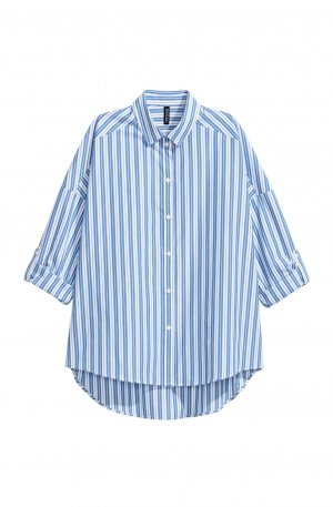 H&M Divided Blusa taglie forti blu-bianco Cotone