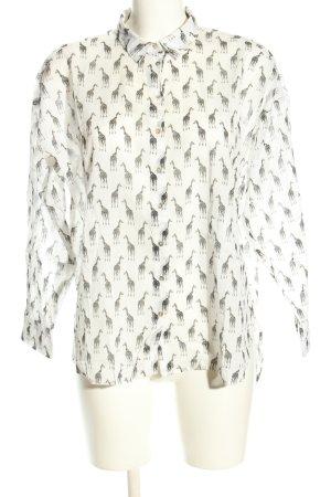H&M Oversized Bluse weiß-hellgrau Allover-Druck Casual-Look