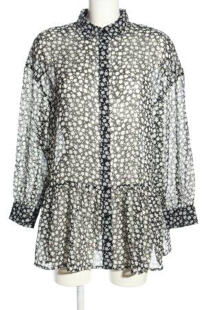 H&M Oversized Bluse schwarz-weiß Allover-Druck Casual-Look