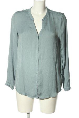 H&M Oversized Bluse türkis-weiß Allover-Druck Business-Look