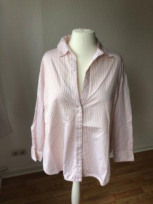 H&M Oversized Hemd Rosa gestreift
