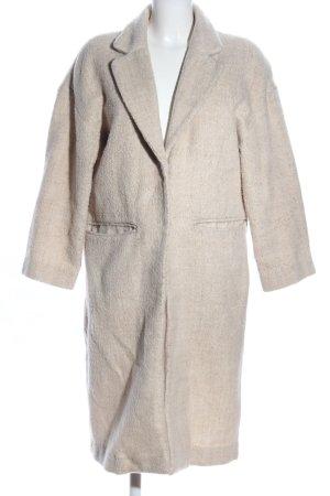 H&M Oversized jas lichtgrijs-wolwit gestippeld zakelijke stijl