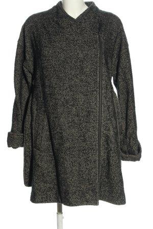 H&M Oversized Mantel schwarz-hellgrau meliert Casual-Look