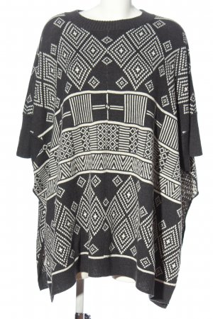 H&M Poncho schwarz-weiß Allover-Druck Casual-Look