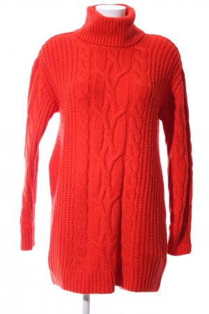 H&M Oversized Pullover rot Zopfmuster Casual-Look