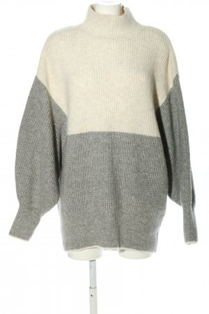 H&M Oversized Pullover wollweiß-hellgrau Zopfmuster Casual-Look