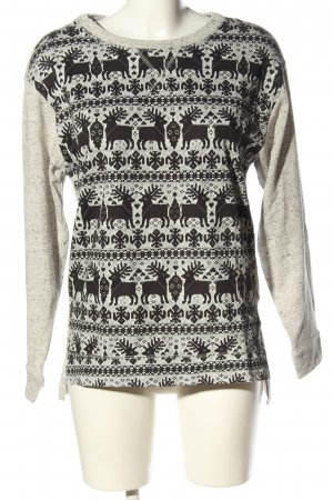 H&M Oversized Pullover hellgrau-schwarz Animalmuster Casual-Look